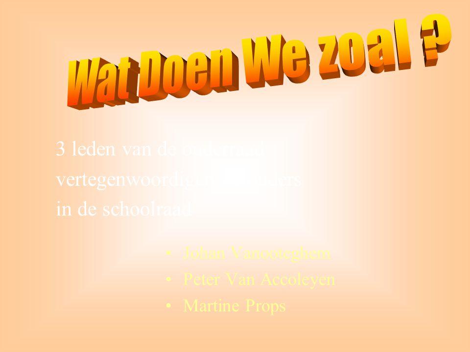•Johan Vanooteghem •Peter Van Accoleyen •Martine Props 3 leden van de ouderraad vertegenwoordigen de ouders in de schoolraad