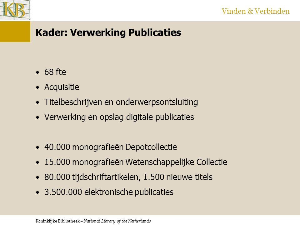 Koninklijke Bibliotheek – National Library of the Netherlands Vinden & Verbinden Dank voor uw aandacht.
