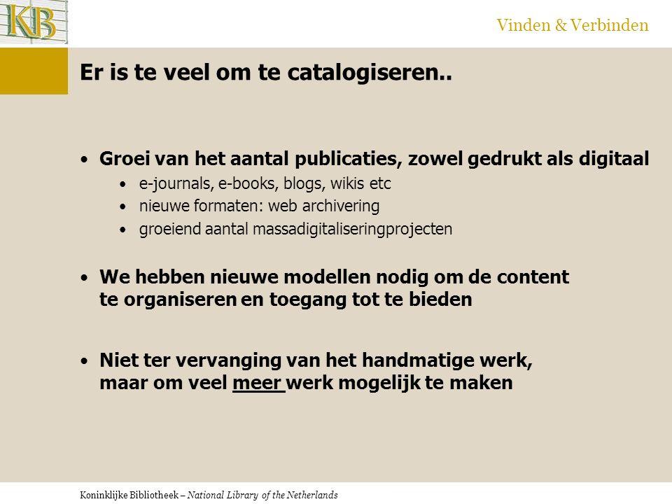 Koninklijke Bibliotheek – National Library of the Netherlands Vinden & Verbinden Er komen nieuwe technologieën op...