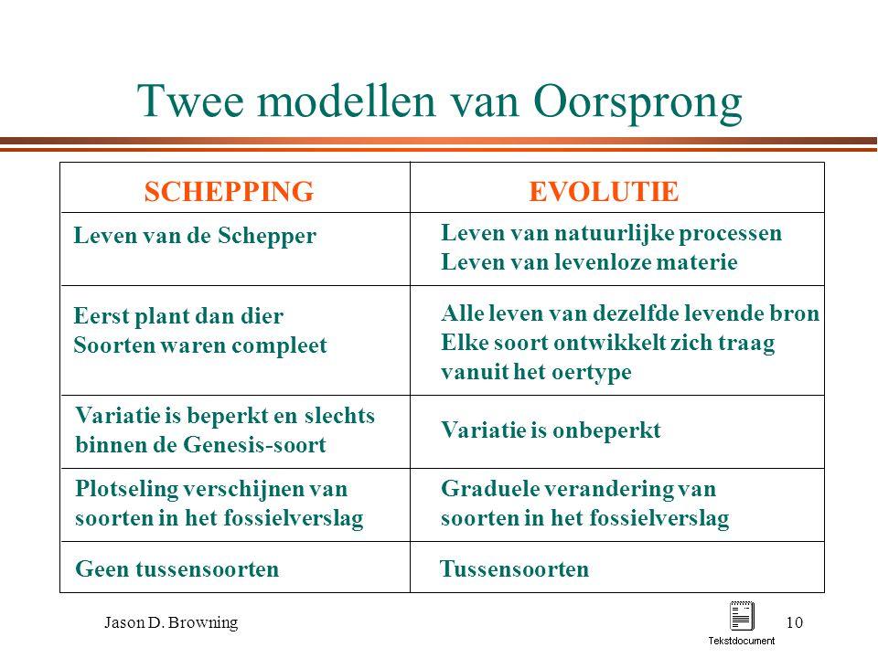 Jason D. Browning10 Twee modellen van Oorsprong SCHEPPINGEVOLUTIE Leven van de Schepper Eerst plant dan dier Soorten waren compleet Variatie is beperk
