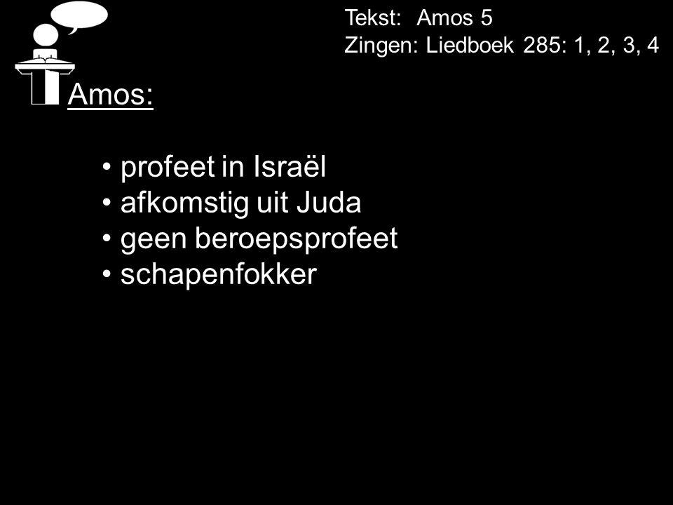 Tekst: Amos 5 Zingen: Liedboek 285: 1, 2, 3, 4 Amos: • profeet in Israël • afkomstig uit Juda • geen beroepsprofeet • schapenfokker