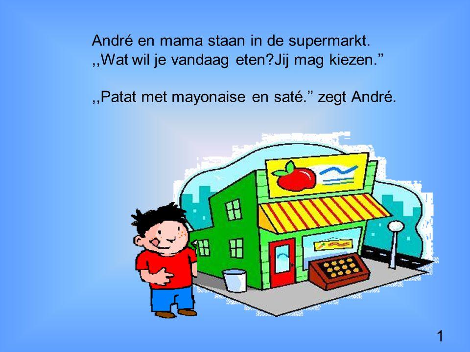 1 André en mama staan in de supermarkt.,,Wat wil je vandaag eten?Jij mag kiezen.'',,Patat met mayonaise en saté.'' zegt André.