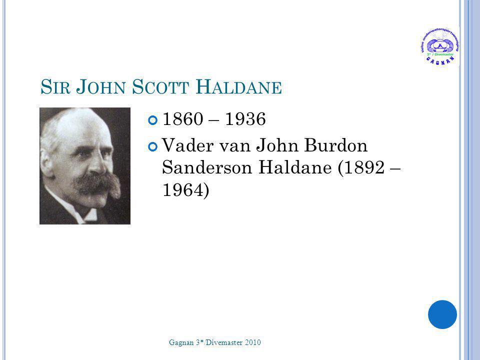 S IR J OHN S COTT H ALDANE 1860 – 1936 Vader van John Burdon Sanderson Haldane (1892 – 1964) Gagnan 3*/Divemaster 2010 14