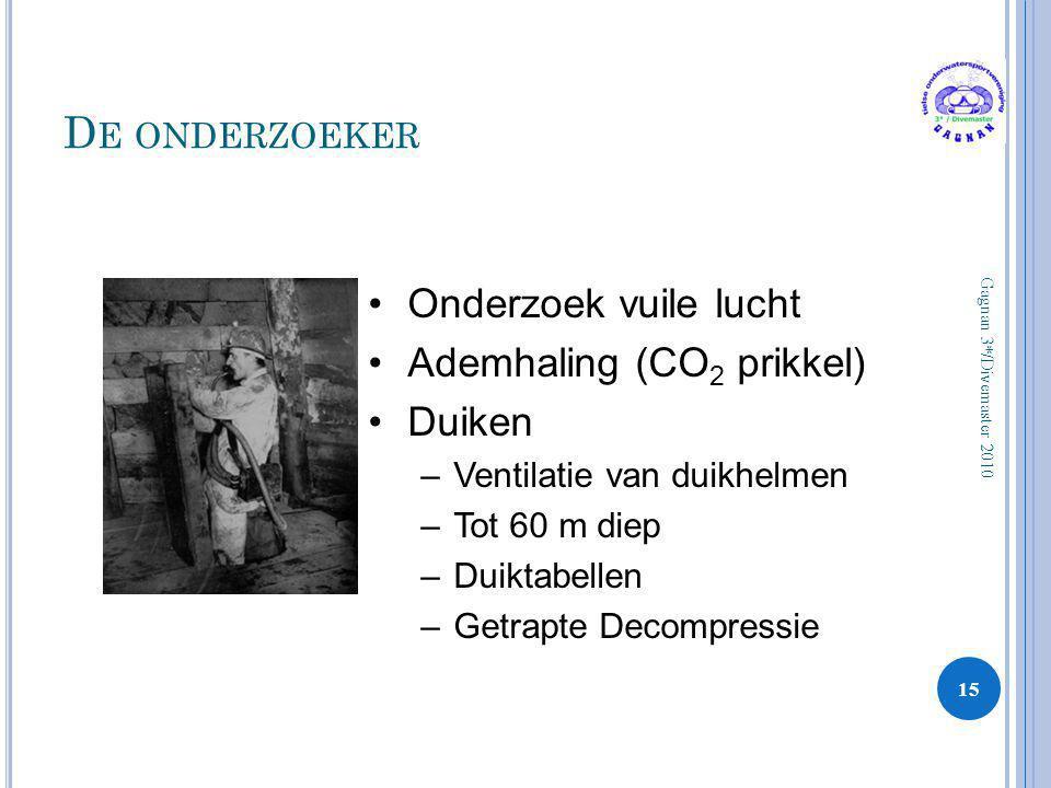 D E ONDERZOEKER 15 Gagnan 3*/Divemaster 2010 •Onderzoek vuile lucht •Ademhaling (CO 2 prikkel) •Duiken –Ventilatie van duikhelmen –Tot 60 m diep –Duik