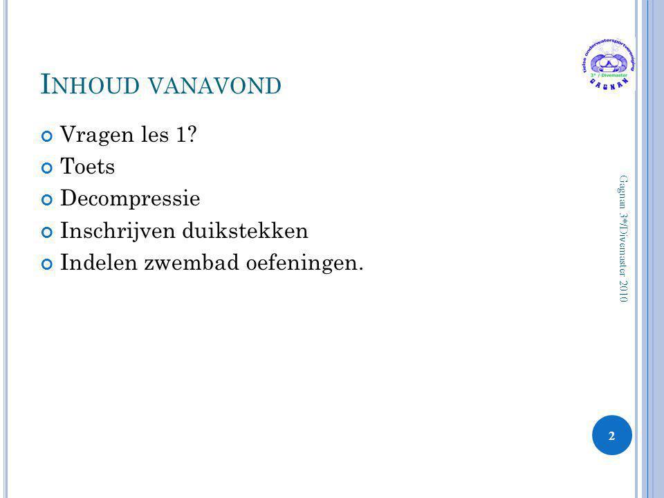 K RITIEK OP H ALDANE Opname en Afgifte van Stikstof M-waarden Weefsel Model 33 Gagnan 3*/Divemaster 2010