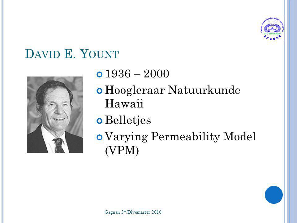 D AVID E. Y OUNT 1936 – 2000 Hoogleraar Natuurkunde Hawaii Belletjes Varying Permeability Model (VPM) Gagnan 3*/Divemaster 2010 52