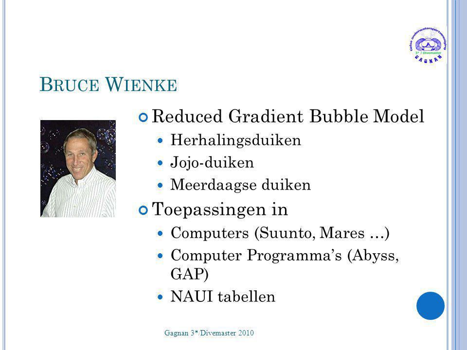 B RUCE W IENKE Reduced Gradient Bubble Model  Herhalingsduiken  Jojo-duiken  Meerdaagse duiken Toepassingen in  Computers (Suunto, Mares …)  Comp