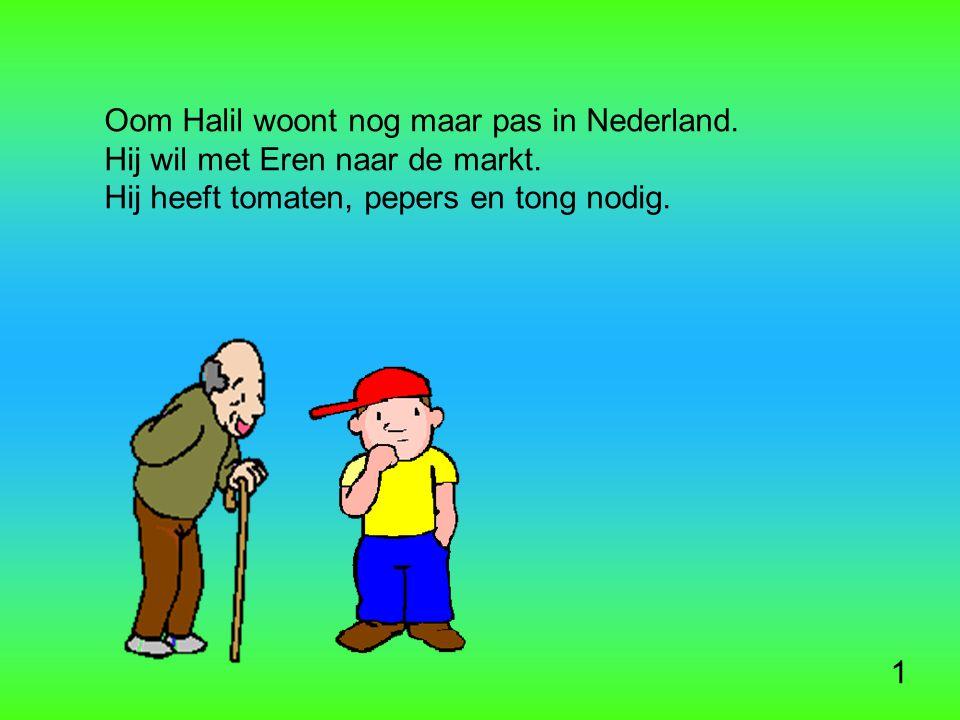 Oom Halil woont nog maar pas in Nederland. Hij wil met Eren naar de markt.