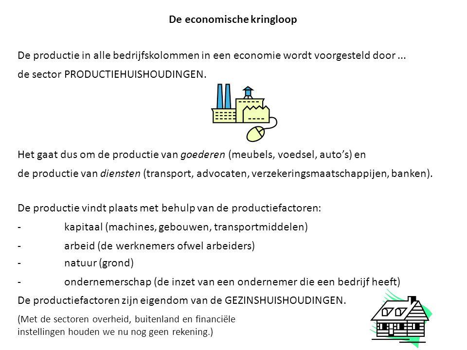 De economische kringloop De productie in alle bedrijfskolommen in een economie wordt voorgesteld door... de sector PRODUCTIEHUISHOUDINGEN. Het gaat du