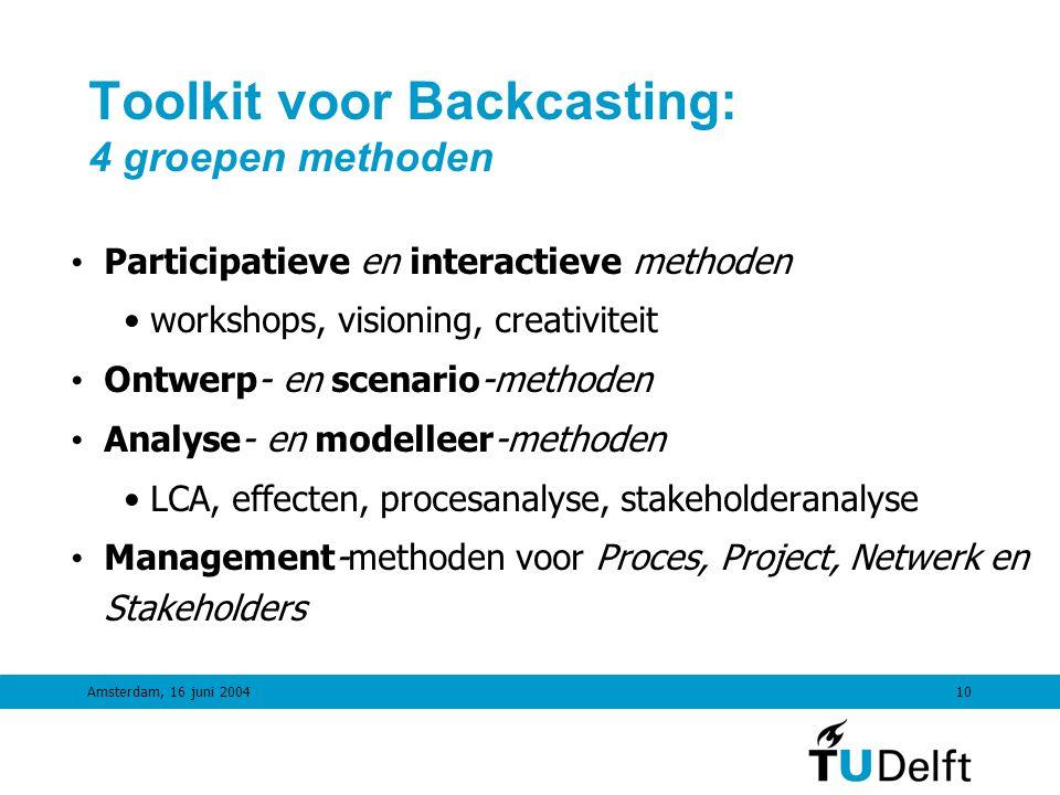 Amsterdam, 16 juni 20049 Backcasting in 5 stappen Stap 1Strategische Probleemorientatie Analyse Stap 2Maken gewenst toekomstbeeld Visie Stap 3 Back-casting Wat is nodig.