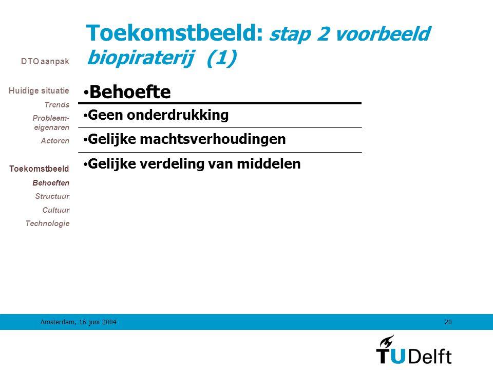 Amsterdam, 16 juni 200419 TiDO Colloquimvak: Stap 2 Stap 2Maken gewenst duurzaam toekomstbeeld •Wat zijn eisen aan het toekomstbeeld (Terms of Ref).