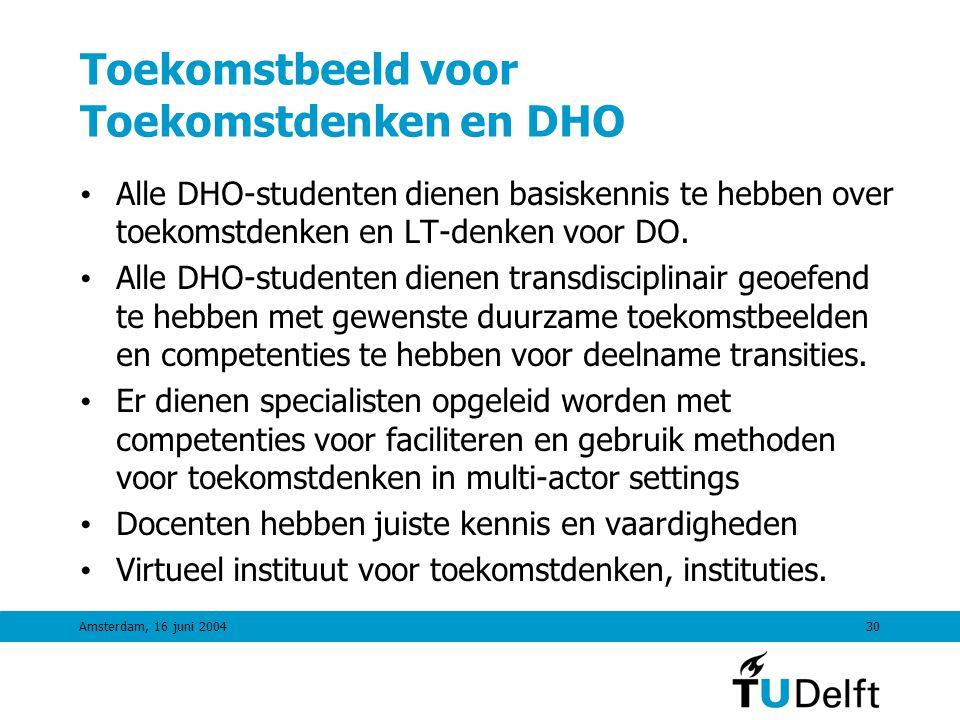 Amsterdam, 16 juni 200429 TiDO Colloquimvak: Methoden Stap 4Uitwerking, analyse en bepalen KT-vervolg •Ontwerp-toolkit (afhankelijk van onderwerp) •Methoden voor Milieu-analyse, consumentenonderzoek, economische analyse (I/O) in kader van beschikbare tijd •Technology Assessment methoden (checklist, etc) •Constructieve TA methoden (moeilijk in onderwijs) Stap 5Agenda, inbedding & follow-up •Communicatiemethoden •Participatieve methoden