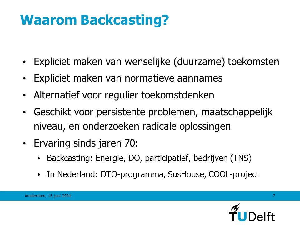 Amsterdam, 16 juni 20046 Toekomst- oriëntatie Backcasting 2000 2050 ECOEFFICIENCYECOEFFICIENCY TUSSENSTAPPEN Backcasting: van visie naar actie TIJD