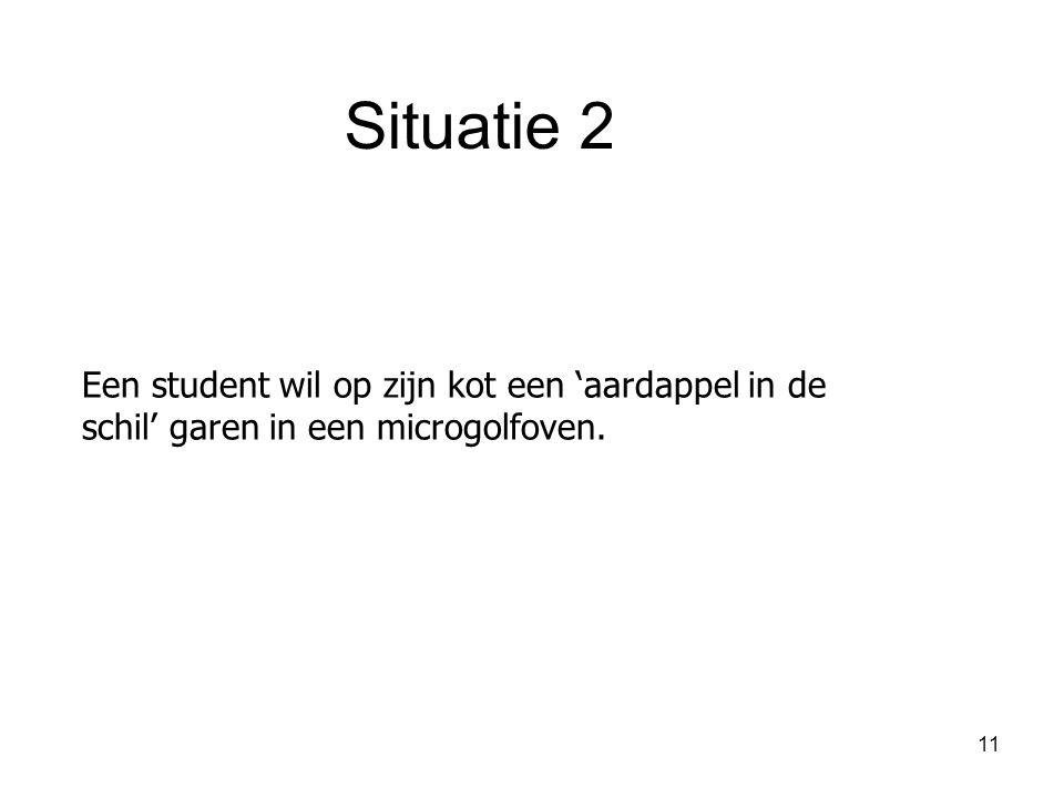 11 Een student wil op zijn kot een 'aardappel in de schil' garen in een microgolfoven. Situatie 2