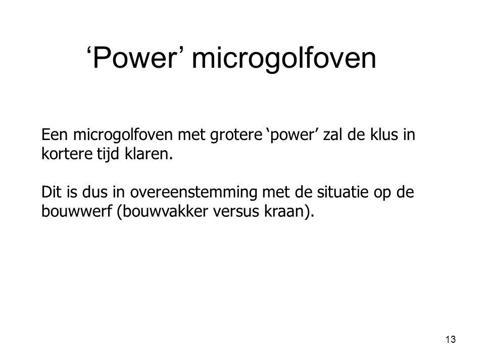 13 Een microgolfoven met grotere 'power' zal de klus in kortere tijd klaren. 'Power' microgolfoven Dit is dus in overeenstemming met de situatie op de