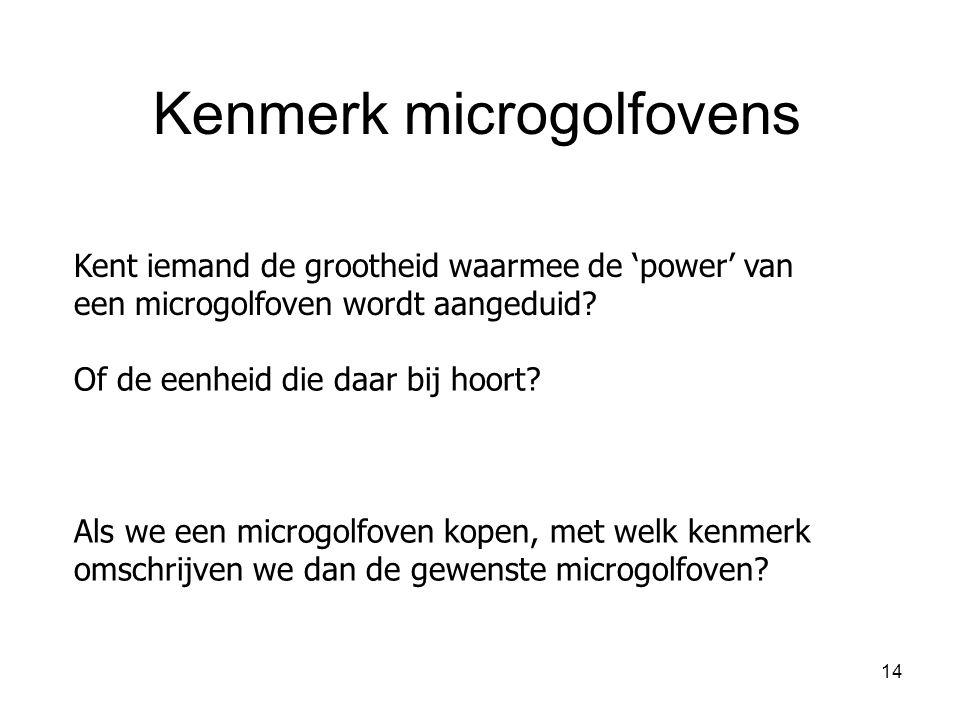 14 Kent iemand de grootheid waarmee de 'power' van een microgolfoven wordt aangeduid? Kenmerk microgolfovens Of de eenheid die daar bij hoort? Als we