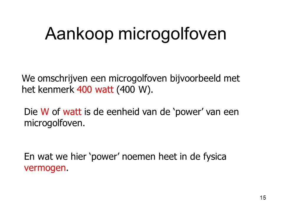 15 We omschrijven een microgolfoven bijvoorbeeld met het kenmerk 400 watt (400 W). Aankoop microgolfoven Die W of watt is de eenheid van de 'power' va