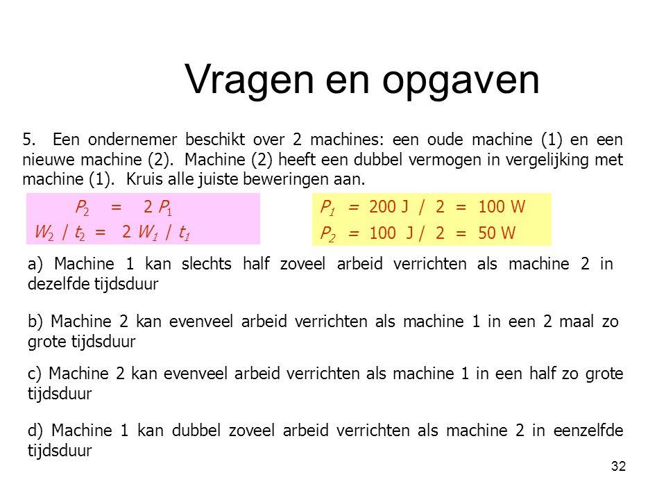 32 5. Een ondernemer beschikt over 2 machines: een oude machine (1) en een nieuwe machine (2). Machine (2) heeft een dubbel vermogen in vergelijking m