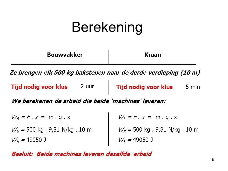6 BouwvakkerKraan Ze brengen elk 500 kg bakstenen naar de derde verdieping (10 m) Tijd nodig voor klus 2 uur Tijd nodig voor klus 5 min We berekenen d