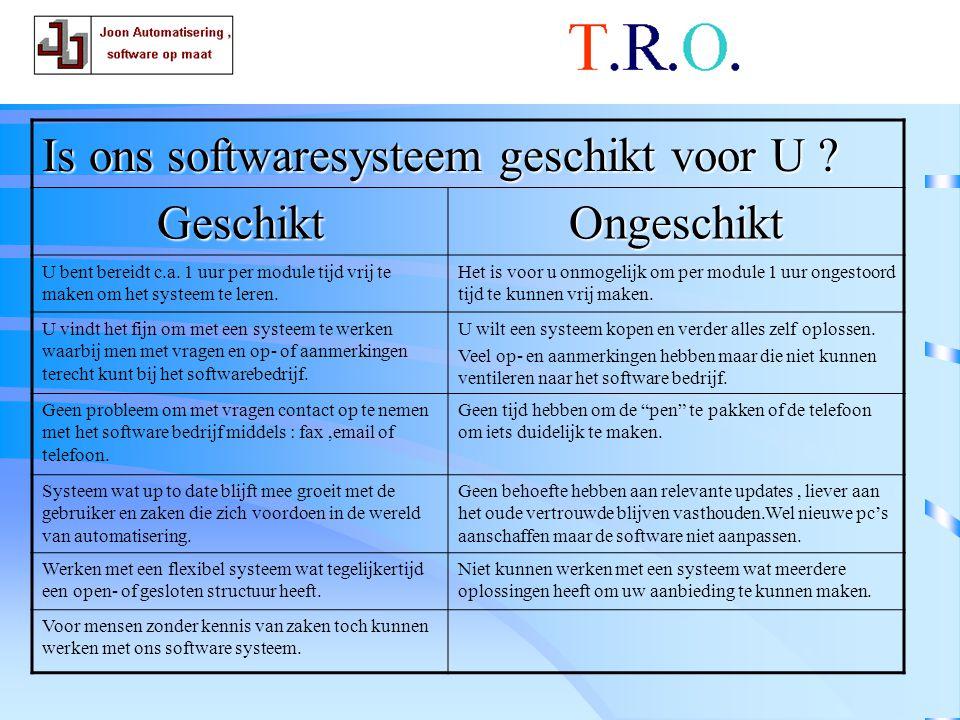 T.R.O.software . Is ons softwaresysteem geschikt voor U .