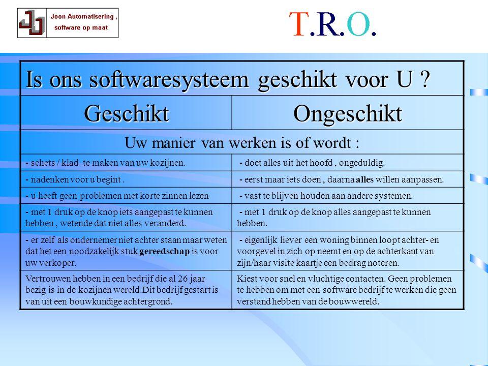 T.R.O.uw manier Is ons softwaresysteem geschikt voor U .