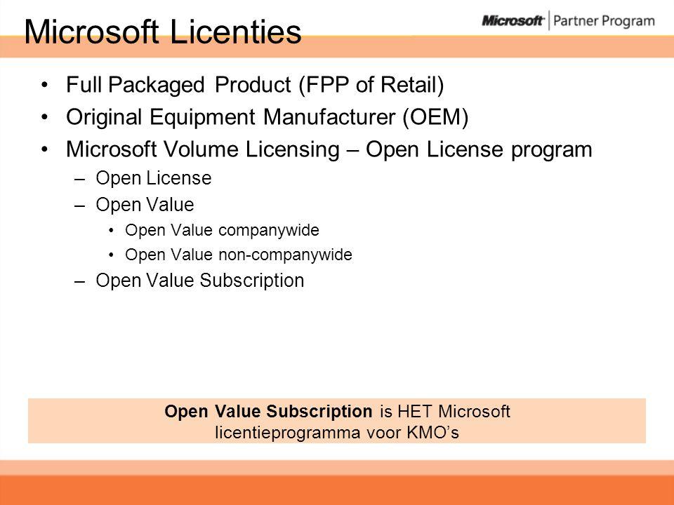 Licentie types •OEM: verkocht met PC (of server) –Beperkte rechten: geen downgrade, geen imaging, geen transfer, geen taal-wissel, geen MS support, niet bruikbaar met Terminal Server.