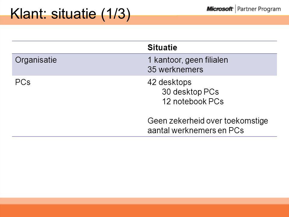 Klant: situatie (1/3) Situatie Organisatie1 kantoor, geen filialen 35 werknemers PCs42 desktops 30 desktop PCs 12 notebook PCs Geen zekerheid over toekomstige aantal werknemers en PCs