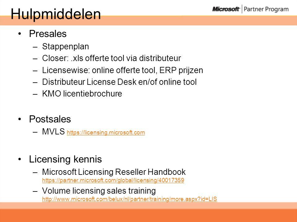 Hulpmiddelen •Presales –Stappenplan –Closer:.xls offerte tool via distributeur –Licensewise: online offerte tool, ERP prijzen –Distributeur License Desk en/of online tool –KMO licentiebrochure •Postsales –MVLS https://licensing.microsoft.com https://licensing.microsoft.com •Licensing kennis –Microsoft Licensing Reseller Handbook https://partner.microsoft.com/global/licensing/40017359 https://partner.microsoft.com/global/licensing/40017359 –Volume licensing sales training http://www.microsoft.com/belux/nl/partner/training/more.aspx id=LIS http://www.microsoft.com/belux/nl/partner/training/more.aspx id=LIS