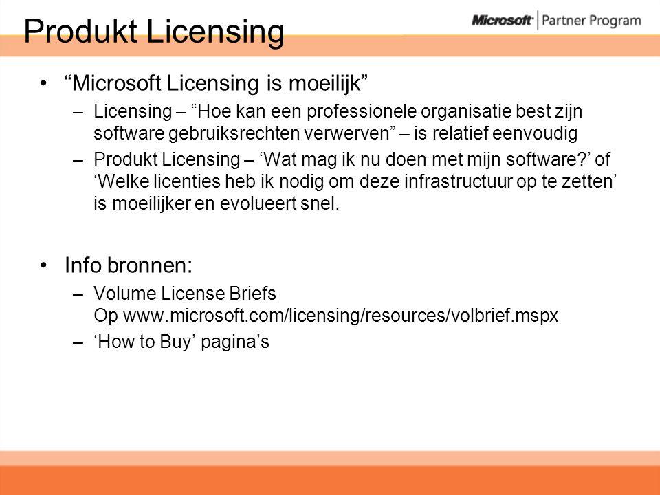 Produkt Licensing • Microsoft Licensing is moeilijk –Licensing – Hoe kan een professionele organisatie best zijn software gebruiksrechten verwerven – is relatief eenvoudig –Produkt Licensing – 'Wat mag ik nu doen met mijn software?' of 'Welke licenties heb ik nodig om deze infrastructuur op te zetten' is moeilijker en evolueert snel.
