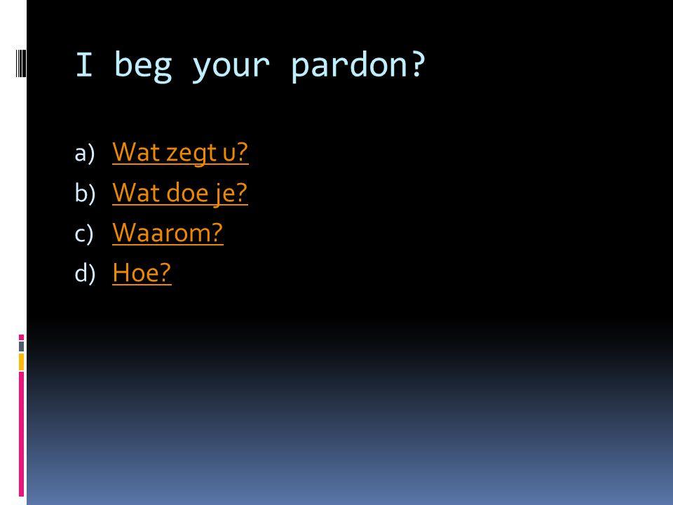 I beg your pardon.a) Wat zegt u. Wat zegt u. b) Wat doe je.