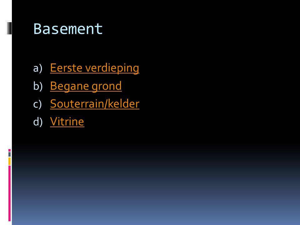 Basement a) Eerste verdieping Eerste verdieping b) Begane grond Begane grond c) Souterrain/kelder Souterrain/kelder d) Vitrine Vitrine