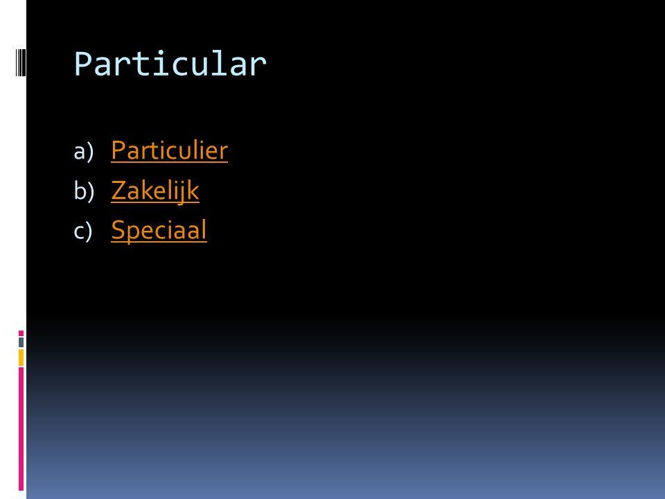 Particular a) Particulier Particulier b) Zakelijk Zakelijk c) Speciaal Speciaal