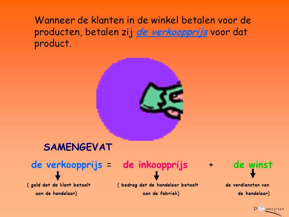 SAMENGEVAT de verkoopprijs = de inkoopprijs + de winst ( geld dat de klant betaalt ( bedrag dat de handelaar betaalt de verdiensten van aan de handela
