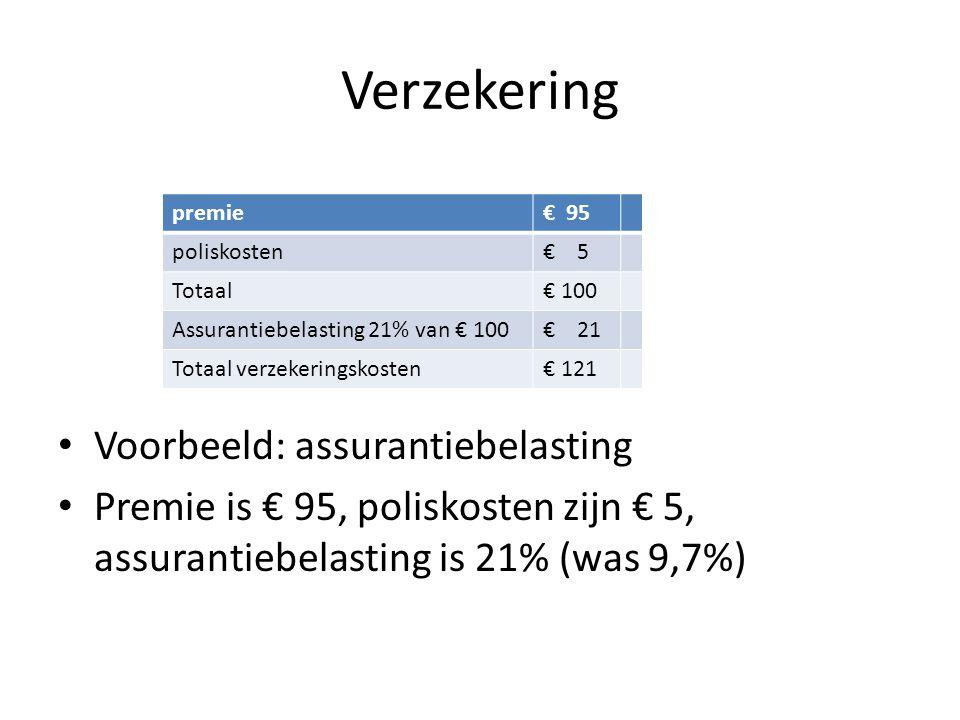 Verzekering • Voorbeeld: assurantiebelasting • Premie is € 95, poliskosten zijn € 5, assurantiebelasting is 21% (was 9,7%) premie€ 95 poliskosten€ 5 T