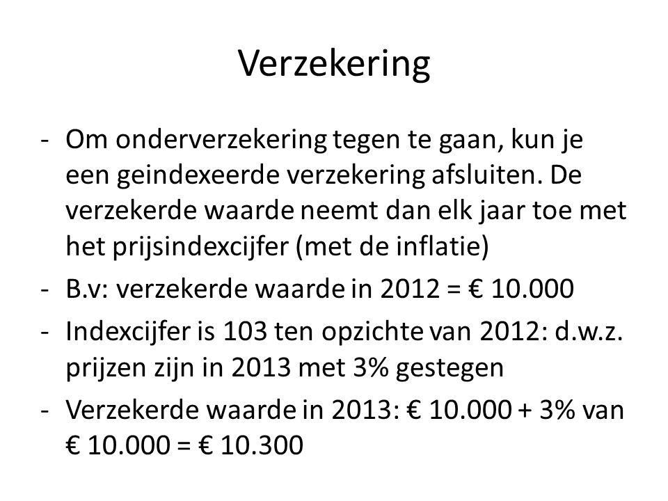 Verzekering -Om onderverzekering tegen te gaan, kun je een geindexeerde verzekering afsluiten.