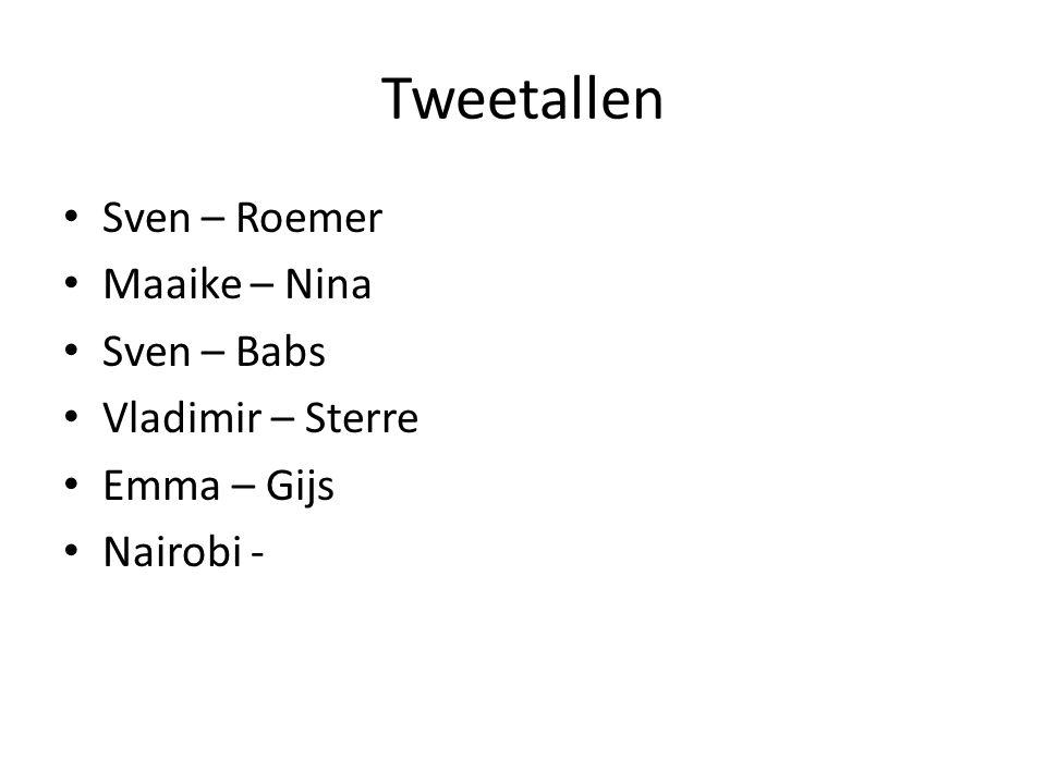Tweetallen • Sven – Roemer • Maaike – Nina • Sven – Babs • Vladimir – Sterre • Emma – Gijs • Nairobi -