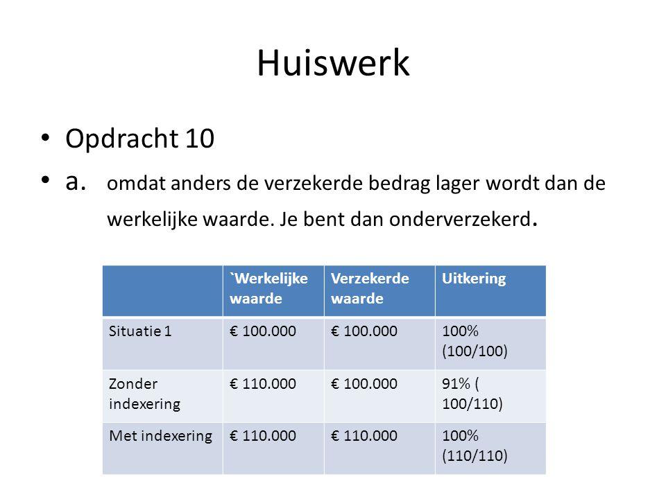Huiswerk • Opdracht 10 • a. omdat anders de verzekerde bedrag lager wordt dan de werkelijke waarde. Je bent dan onderverzekerd. `Werkelijke waarde Ver