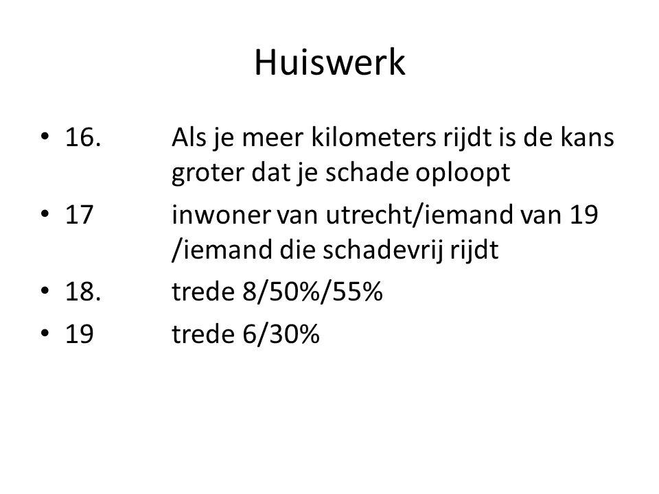 Huiswerk • 16. Als je meer kilometers rijdt is de kans groter dat je schade oploopt • 17inwoner van utrecht/iemand van 19 /iemand die schadevrij rijdt