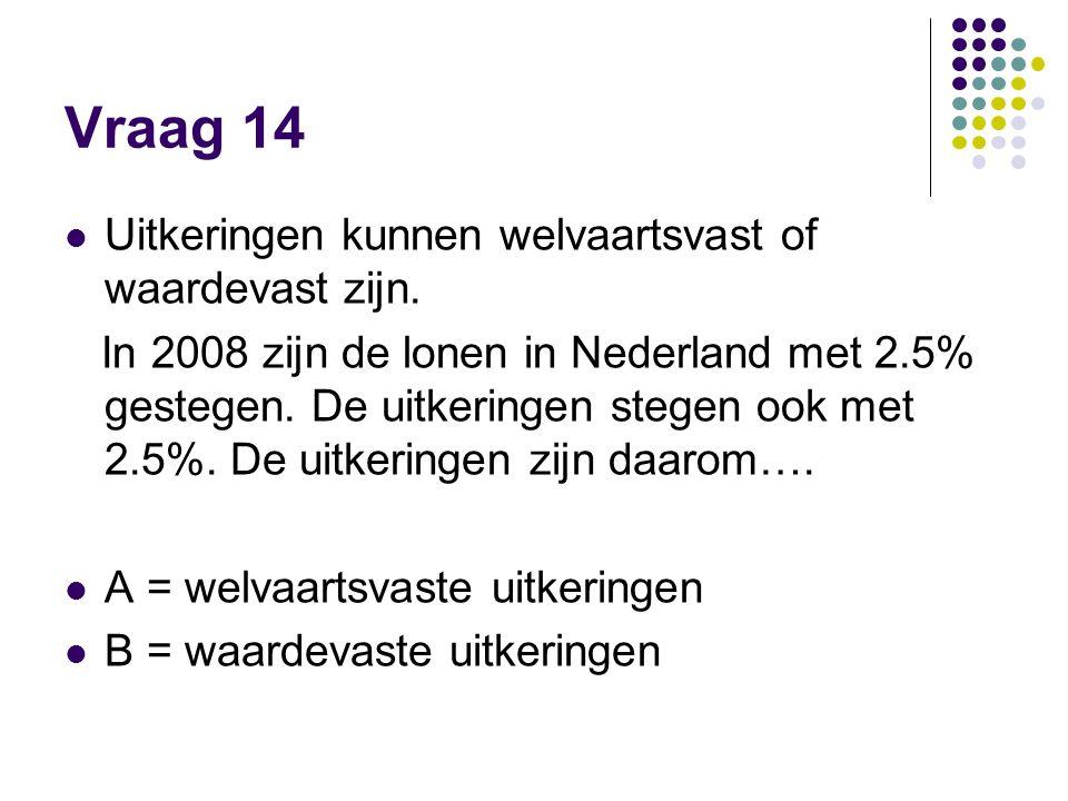 Vraag 14  Uitkeringen kunnen welvaartsvast of waardevast zijn. In 2008 zijn de lonen in Nederland met 2.5% gestegen. De uitkeringen stegen ook met 2.