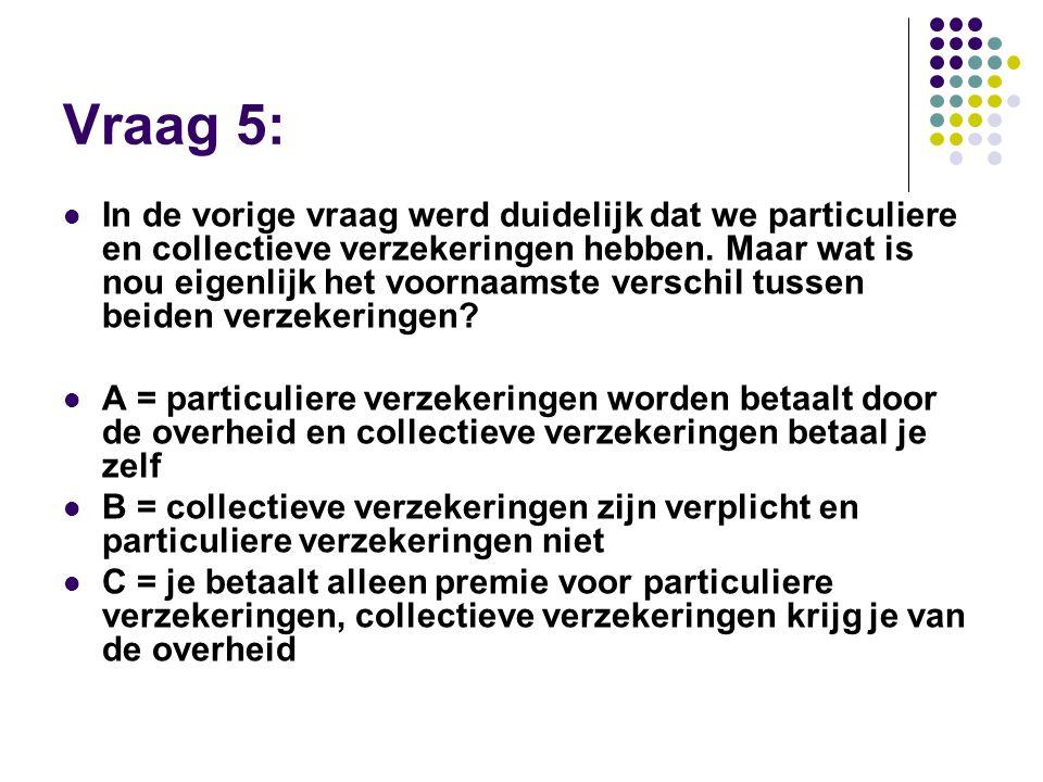 Vraag 5:  In de vorige vraag werd duidelijk dat we particuliere en collectieve verzekeringen hebben. Maar wat is nou eigenlijk het voornaamste versch