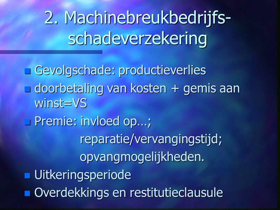 Machinebreukverz. vervolg n VS=kostprijs machine + … n Reparatie: kostbaar vanwege…. Geen aftrek van nieuw voor oud; n Totaalverlies: dagwaarde