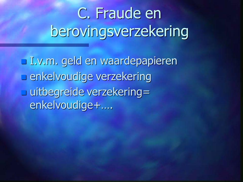 B. Kredietverzekering n Door kredietverlener o.g.v.: insolventie n Kort of lang krediet n Exportkredietverzekering n Commercieel risico (debiteur); n