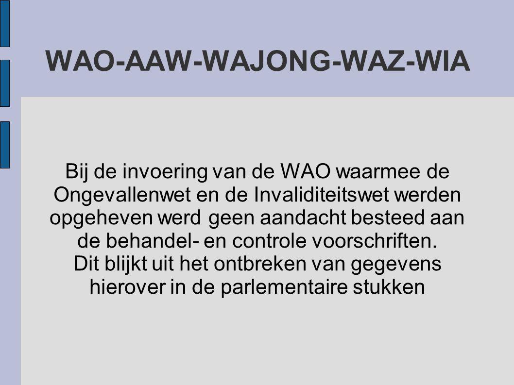 Bij de invoering van de WAO waarmee de Ongevallenwet en de Invaliditeitswet werden opgeheven werd geen aandacht besteed aan de behandel- en controle v