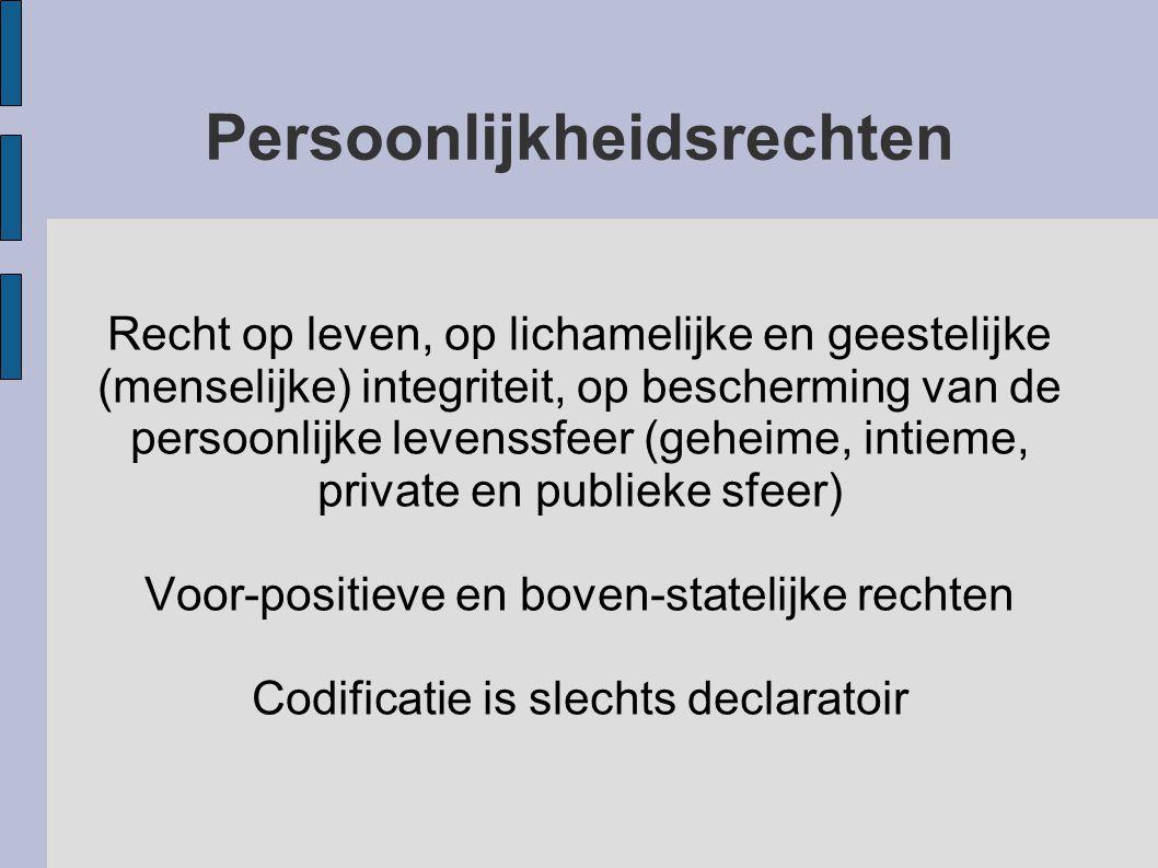 Persoonlijkheidsrechten Recht op leven, op lichamelijke en geestelijke (menselijke) integriteit, op bescherming van de persoonlijke levenssfeer (gehei