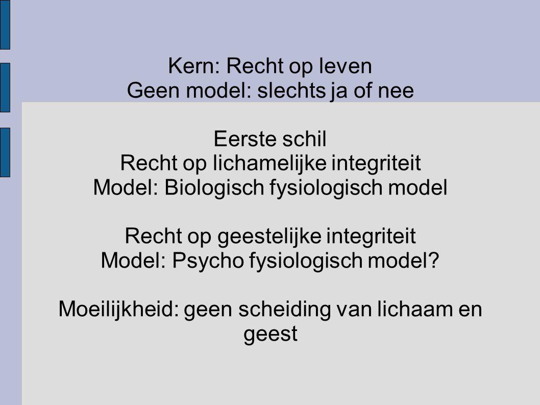 Kern: Recht op leven Geen model: slechts ja of nee Eerste schil Recht op lichamelijke integriteit Model: Biologisch fysiologisch model Recht op geeste
