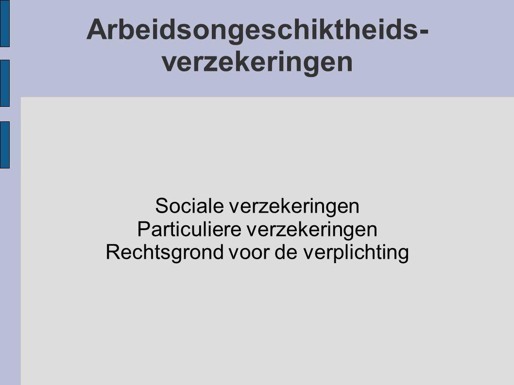 Arbeidsongeschiktheids- verzekeringen Sociale verzekeringen Particuliere verzekeringen Rechtsgrond voor de verplichting