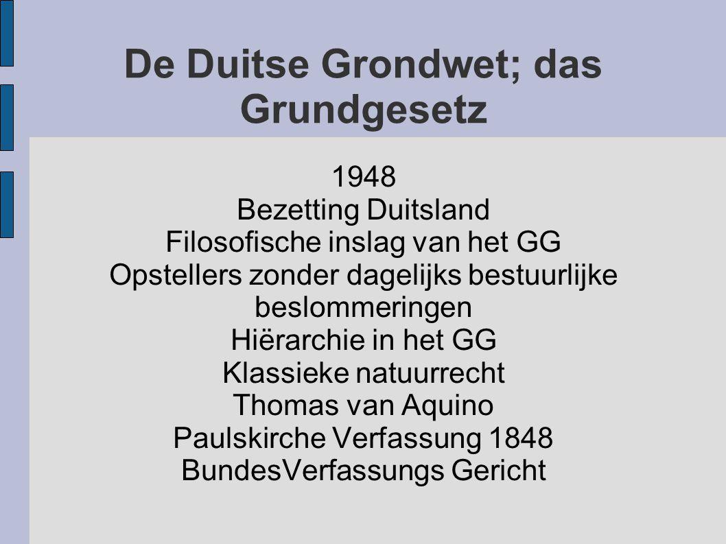 1948 Bezetting Duitsland Filosofische inslag van het GG Opstellers zonder dagelijks bestuurlijke beslommeringen Hiërarchie in het GG Klassieke natuurr