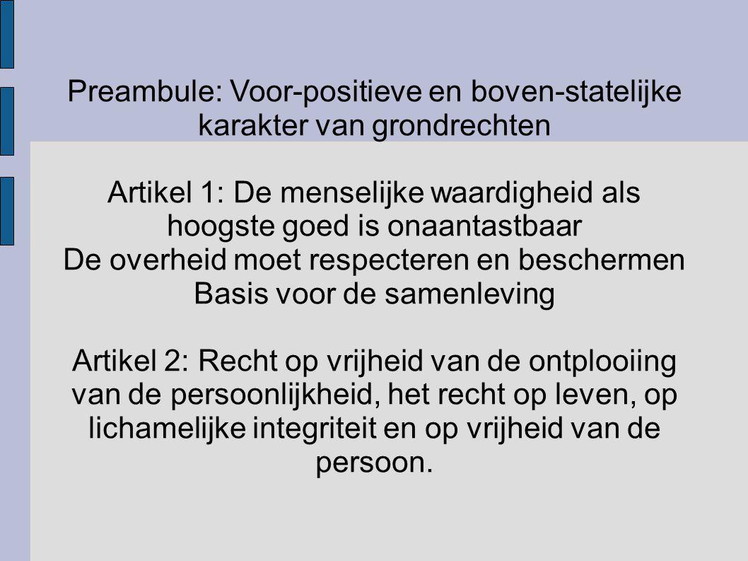 Preambule: Voor-positieve en boven-statelijke karakter van grondrechten Artikel 1: De menselijke waardigheid als hoogste goed is onaantastbaar De over