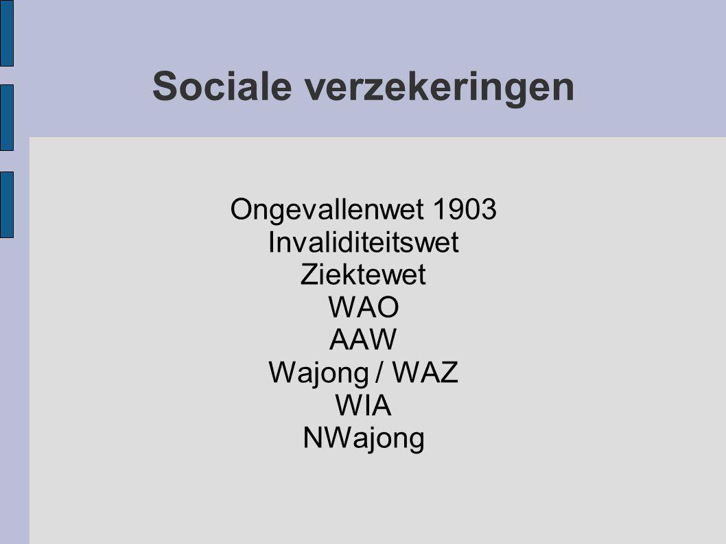 Sociale verzekeringen Ongevallenwet 1903 Invaliditeitswet Ziektewet WAO AAW Wajong / WAZ WIA NWajong