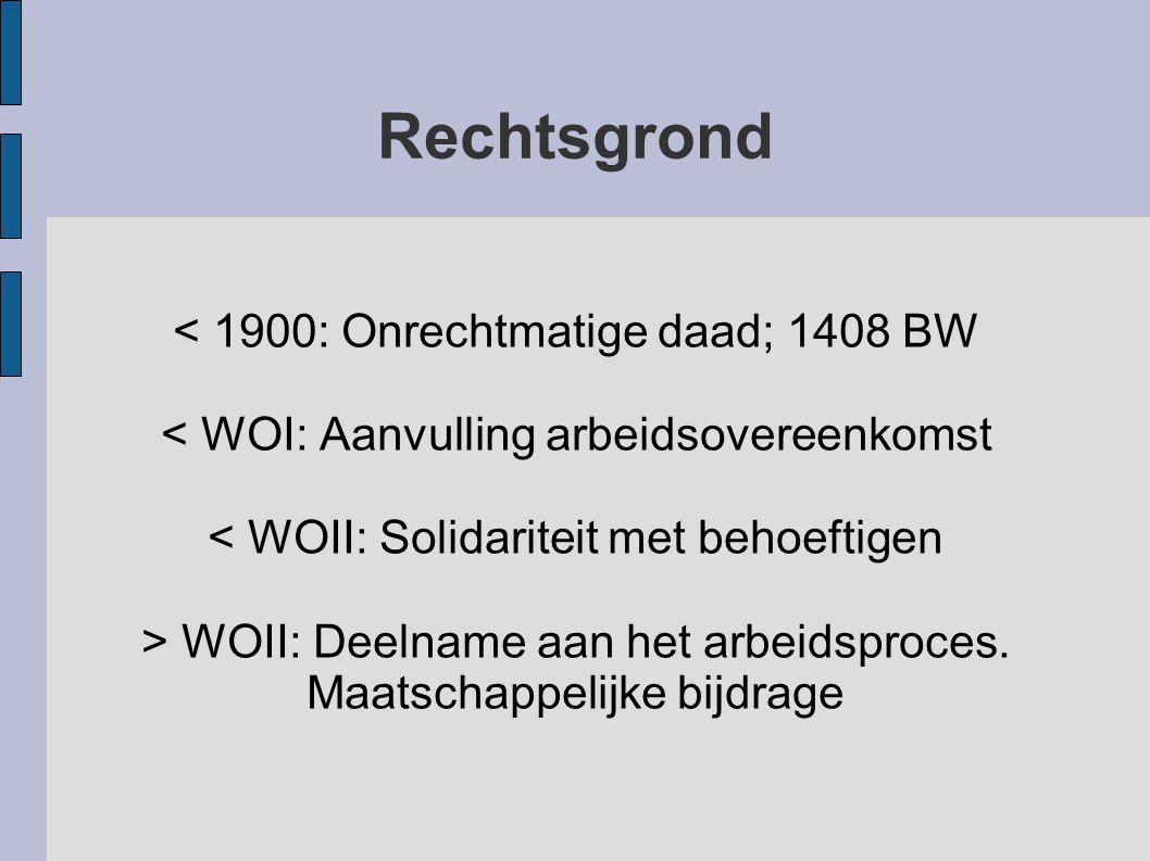 Rechtsgrond < 1900: Onrechtmatige daad; 1408 BW < WOI: Aanvulling arbeidsovereenkomst < WOII: Solidariteit met behoeftigen > WOII: Deelname aan het ar